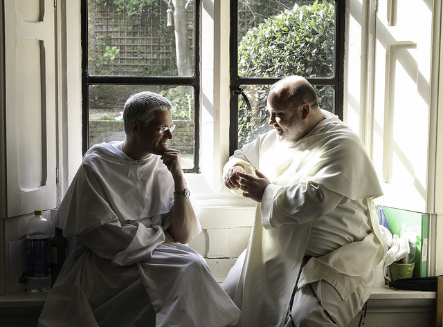Friars in conversation