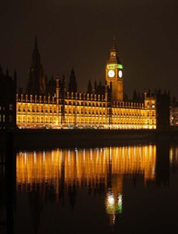 Westminster Palace ablaze with light