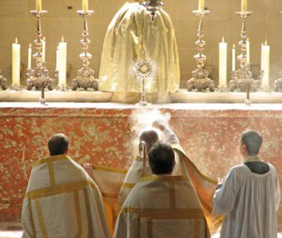 Offering incense to the Sacrament