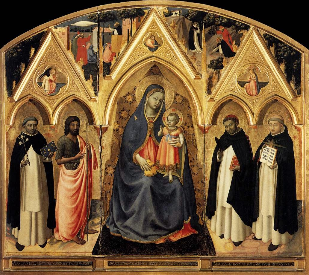 The Virgin and Child. The Virgin and Child with St. John the Baptist, St Dominic, St Peter the Martyr and St. Thomas Aquinas- Fra Angelico c.1387-1455- in the Museo di San Marco dell'Angelico. Florence, Italy.