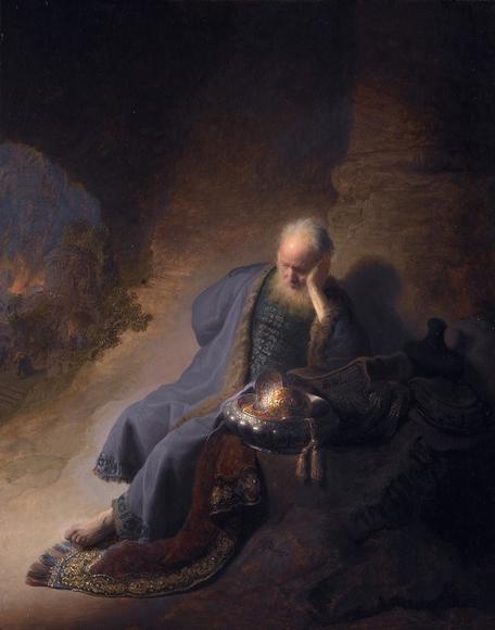 Advent Art: Jeremiah Lamenting the Destruction of Jerusalem, by Rembrandt